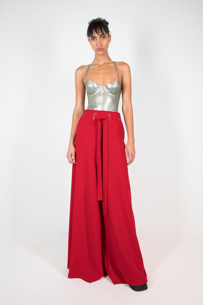 Ana Trouser Red Trousers - HANGER inc - Made in London Sustainable Ethical Designer Fashion Latex Rubber Clothing