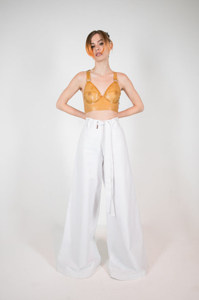 Ana Denim Trouser White Trousers - HANGER inc - Made in London Sustainable Ethical Designer Fashion Latex Rubber Clothing