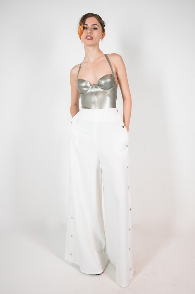 Poppu Trouser White Trousers - HANGER inc - Made in London Sustainable Ethical Designer Fashion Latex Rubber Clothing