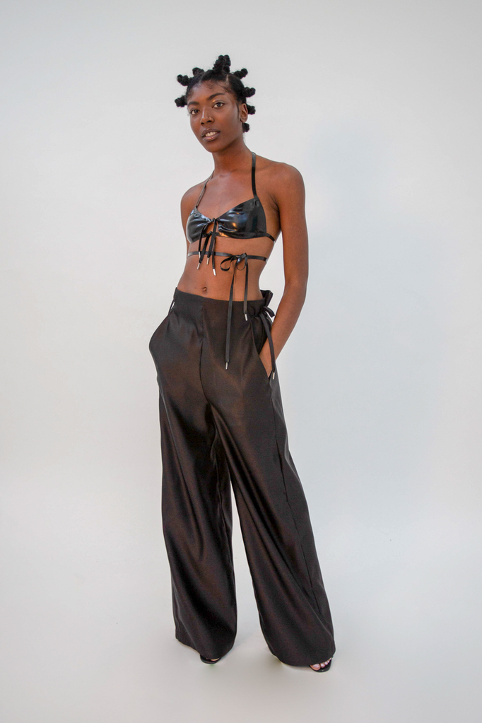 Kamibukuro Trouser Black Trousers - HANGER inc - Made in London Sustainable Ethical Designer Fashion Latex Rubber Clothing