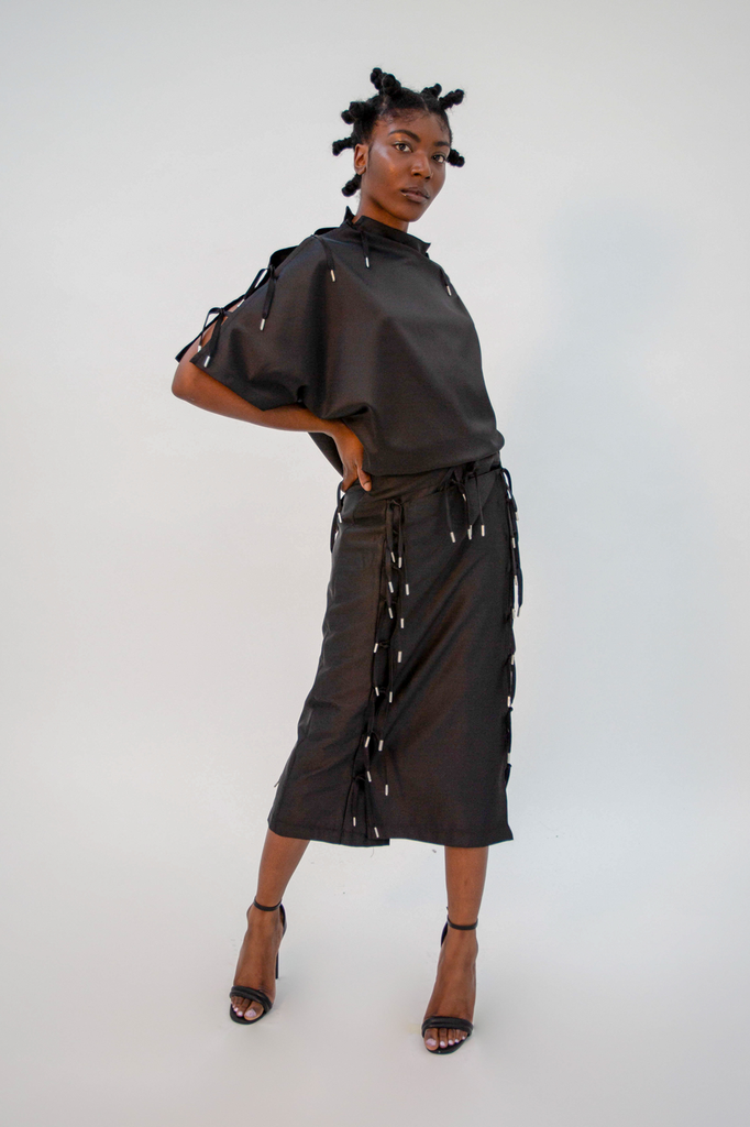 Musubu Top Black Top - HANGER inc - Made in London Sustainable Ethical Designer Fashion Latex Rubber Clothing