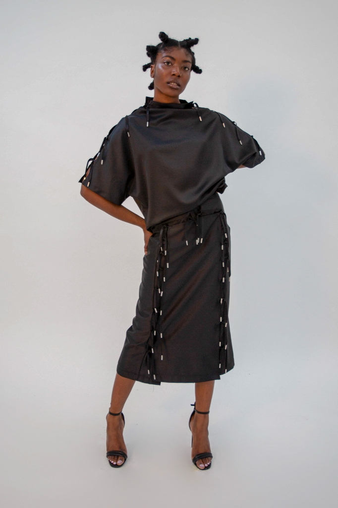 Expando Skirt Black PRE-ORDER Skirt - HANGER inc - Made in London Sustainable Ethical Designer Fashion Latex Rubber Clothing