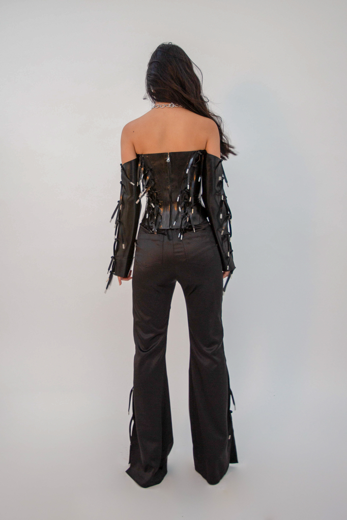 Expando Tie Latex Corset Top - HANGER inc - Made in London Sustainable Ethical Designer Fashion Latex Rubber Clothing