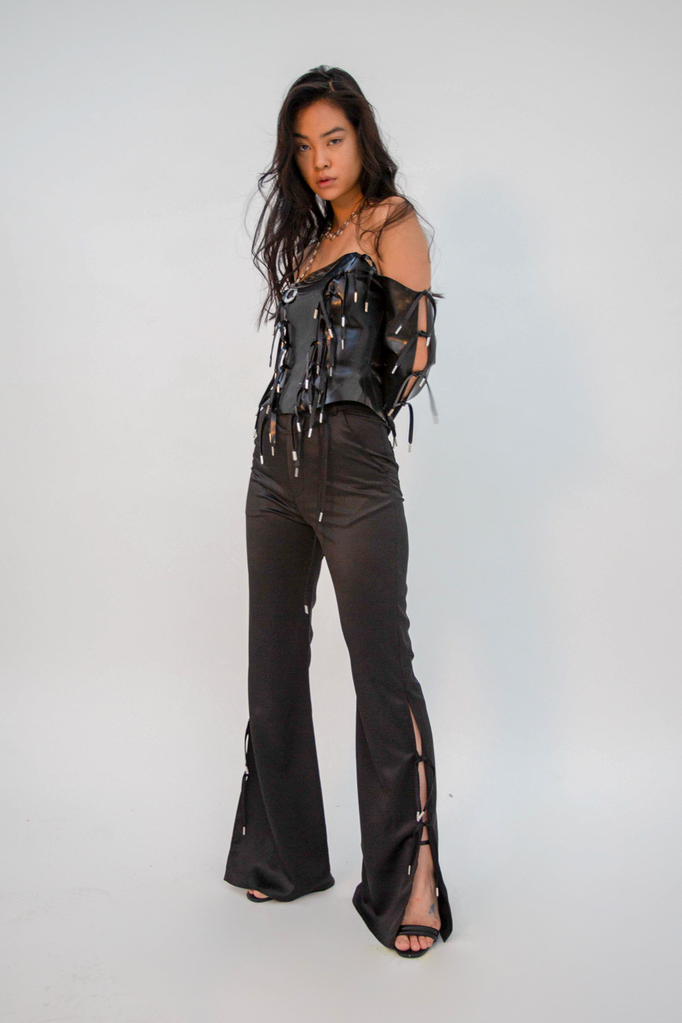 Furea Tie Trouser Black Trousers - HANGER inc - Made in London Sustainable Ethical Designer Fashion Latex Rubber Clothing