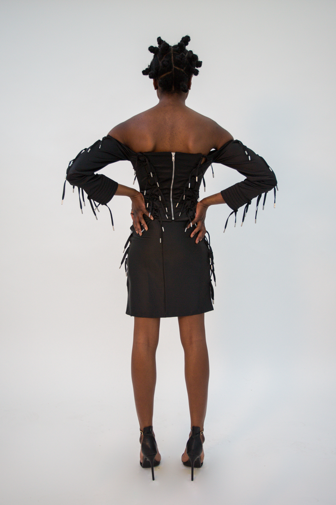Expando Tie Satin Corset Top - HANGER inc - Made in London Sustainable Ethical Designer Fashion Latex Rubber Clothing