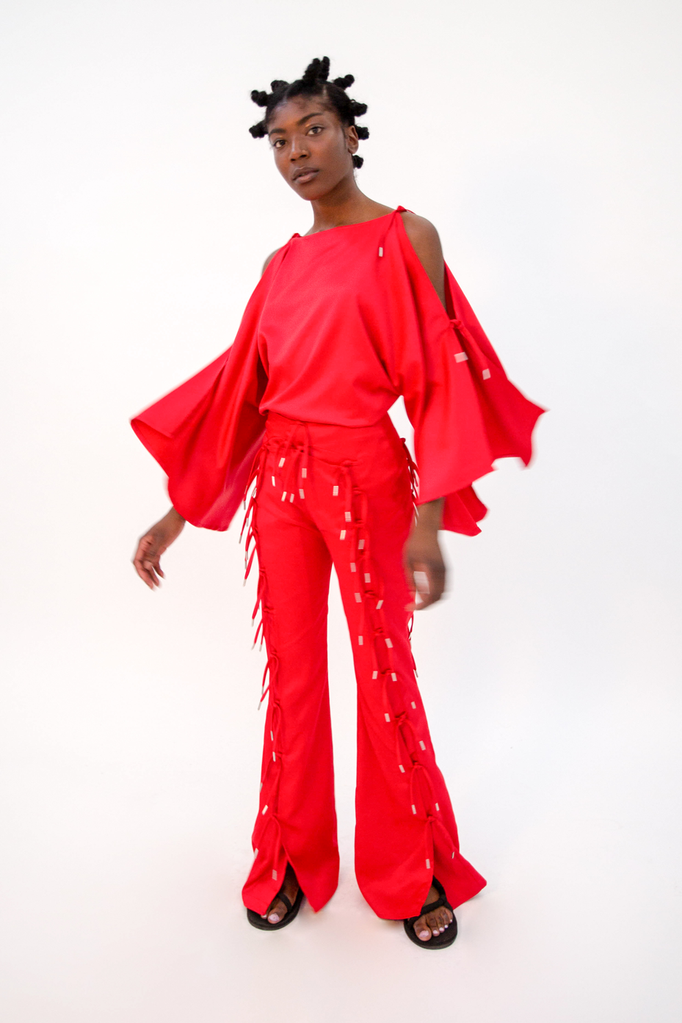 Yuttari Top Red PRE-ORDER Top - HANGER inc - Made in London Sustainable Ethical Designer Fashion Latex Rubber Clothing