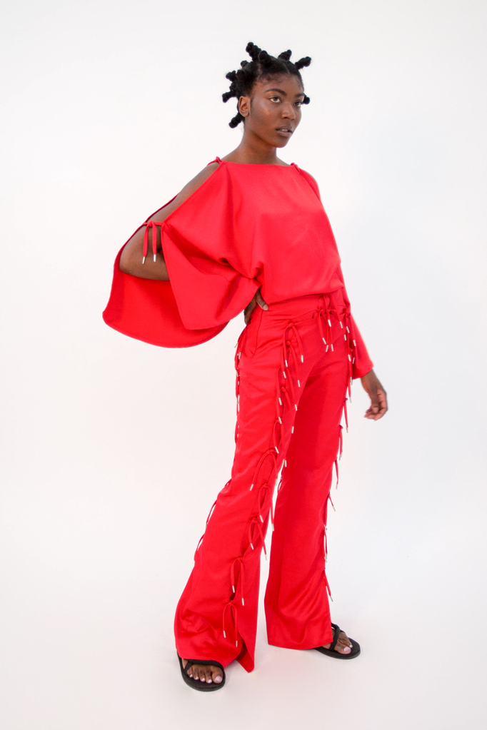 Expando Trouser Red Trousers - HANGER inc - Made in London Sustainable Ethical Designer Fashion Latex Rubber Clothing