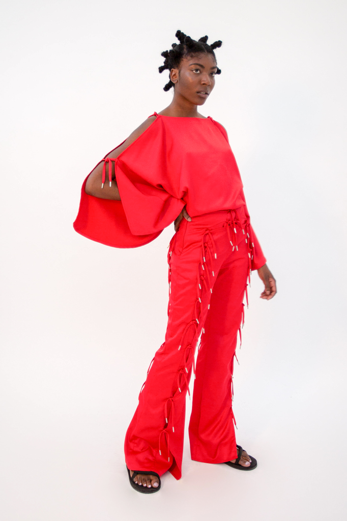 Expando Trouser Red PRE-ORDER Trousers - HANGER inc - Made in London Sustainable Ethical Designer Fashion Latex Rubber Clothing
