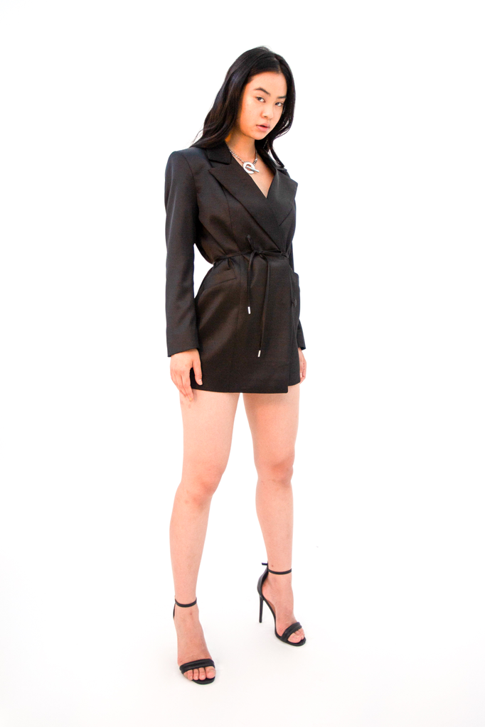 Doresu Belt Jacket Black Jacket - HANGER inc - Made in London Sustainable Ethical Designer Fashion Latex Rubber Clothing