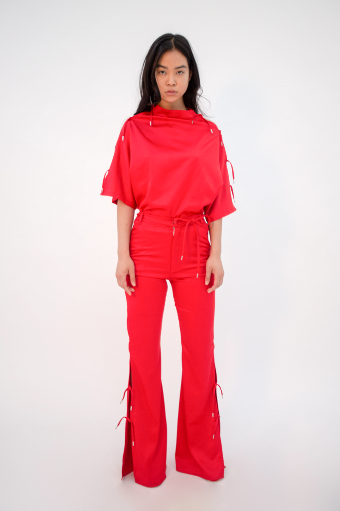 Musubu Top Red Top - HANGER inc - Made in London Sustainable Ethical Designer Fashion Latex Rubber Clothing