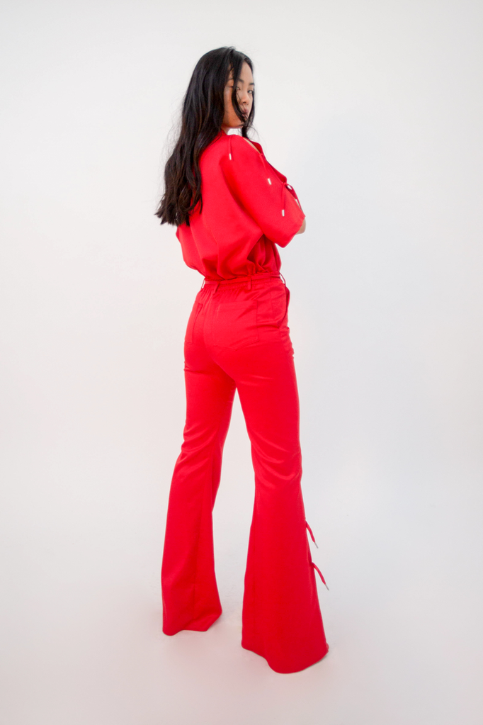Furea High-Rise Satin Trousers Trousers - HANGER inc - Made in London Sustainable Ethical Designer Fashion Latex Rubber Clothing
