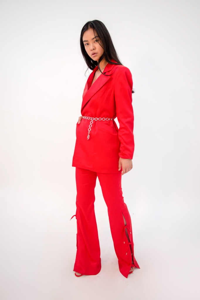 Doresu Belt Jacket Red PRE-ORDER Jacket - HANGER inc - Made in London Sustainable Ethical Designer Fashion Latex Rubber Clothing