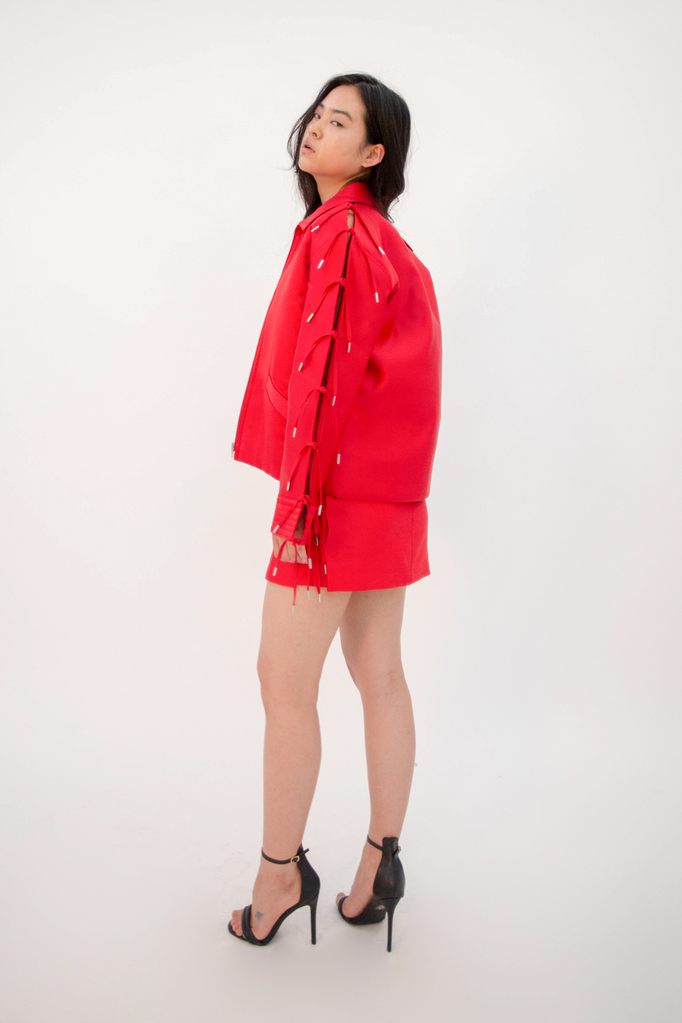 Kiruto Coach Jacket Red Jacket - HANGER inc - Made in London Sustainable Ethical Designer Fashion Latex Rubber Clothing