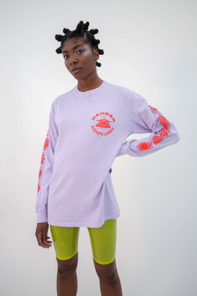 Cult Long Sleeve Tee Lilac PREORDER Top - HANGER inc - Made in London Sustainable Ethical Designer Fashion Latex Rubber Clothing