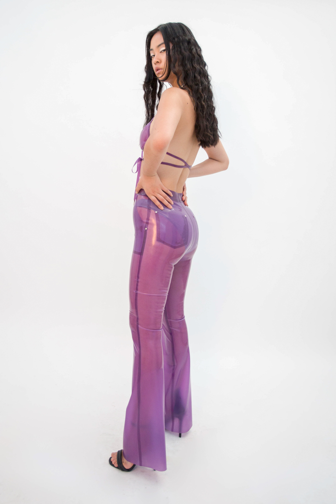 Furea Trouser Translucent Lilac Trousers - HANGER inc - Made in London Sustainable Ethical Designer Fashion Latex Rubber Clothing