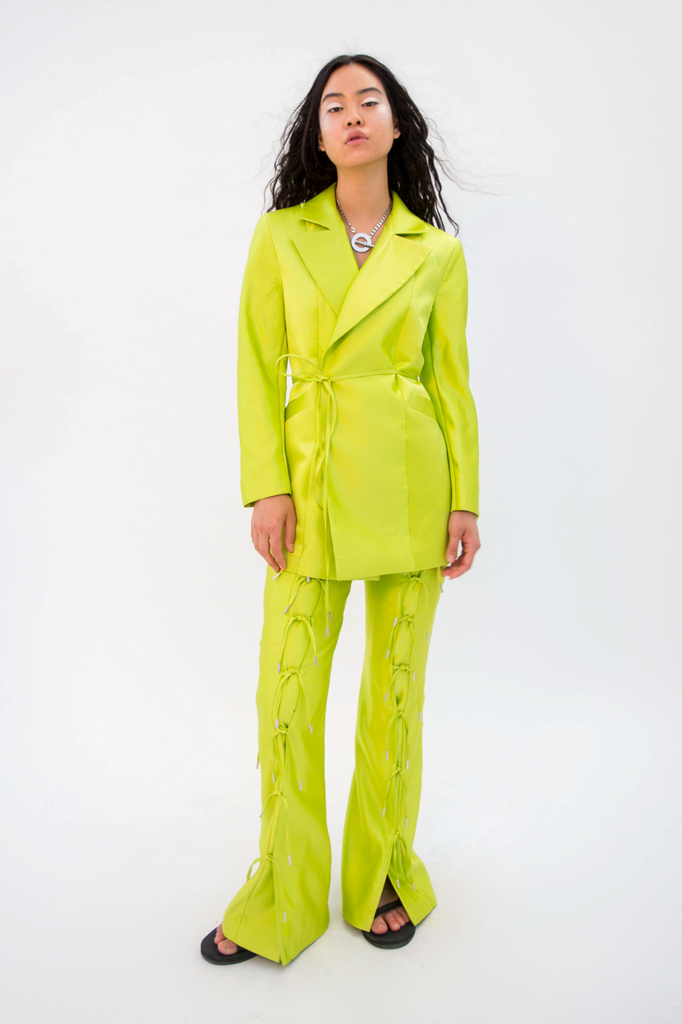 Doresu Belt Jacket Lime PRE-ORDER Jacket - HANGER inc - Made in London Sustainable Ethical Designer Fashion Latex Rubber Clothing