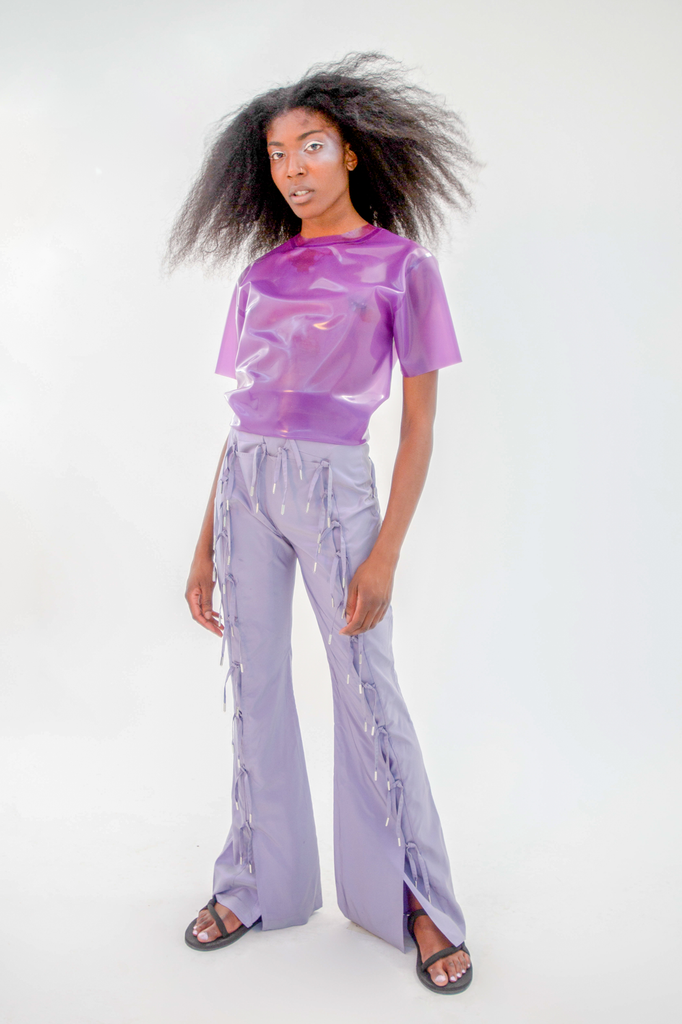 Shinpuru Tee Translucent Lilac Top - HANGER inc - Made in London Sustainable Ethical Designer Fashion Latex Rubber Clothing