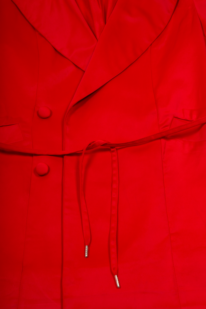 Doresu Belt Jacket Red Jacket - HANGER inc - Made in London Sustainable Ethical Designer Fashion Latex Rubber Clothing