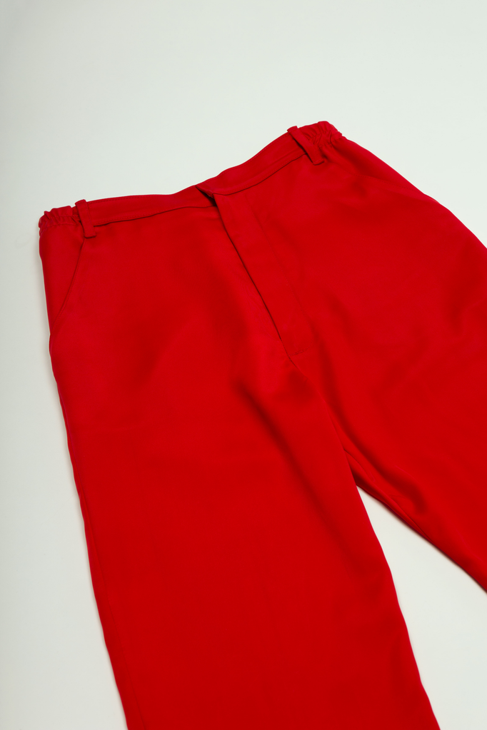 Furea Tie Trouser Red Trousers - HANGER inc - Made in London Sustainable Ethical Designer Fashion Latex Rubber Clothing