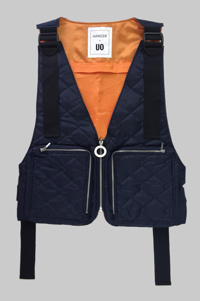 HANGER x UO Navy Quilted Ripstop Gilet  - HANGER inc - Made in London Sustainable Ethical Designer Fashion Latex Rubber Clothing