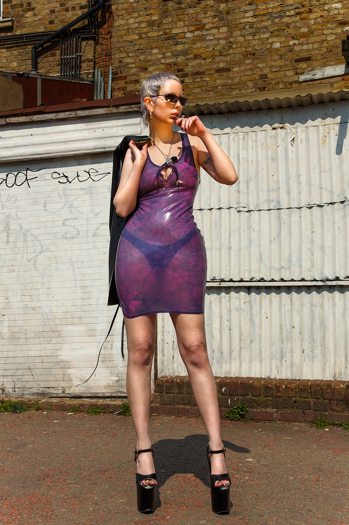 4/20 GRANDADDY PURP Latex Dress - MARBLED