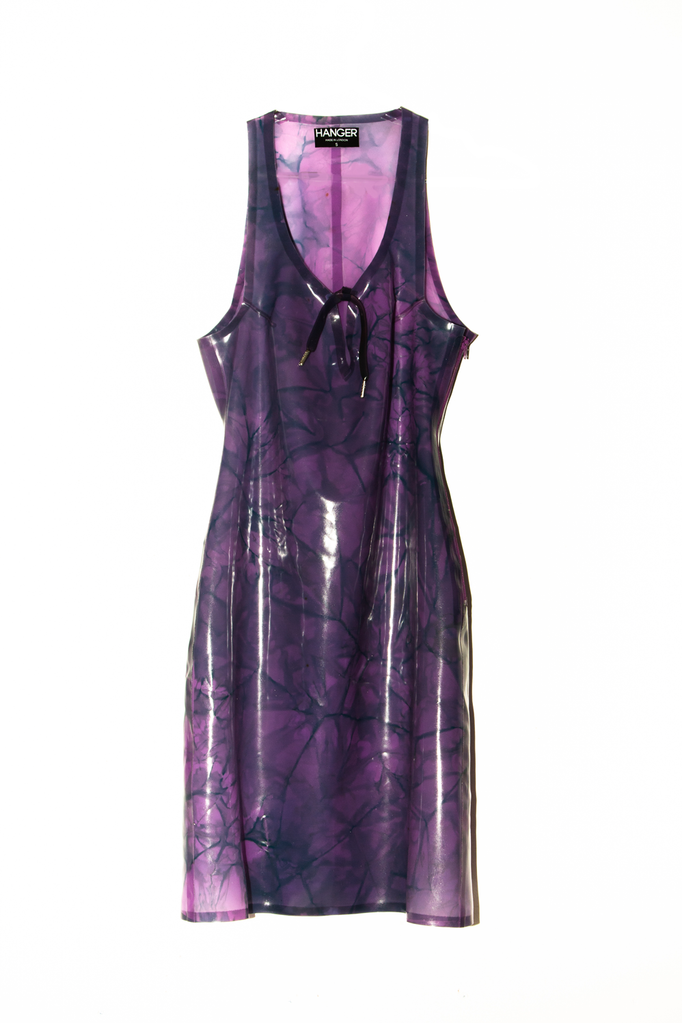 4/20 GRANDADDY PURP Latex Dress - MARBLED  - HANGER inc - Made in London Sustainable Ethical Designer Fashion Latex Rubber Clothing