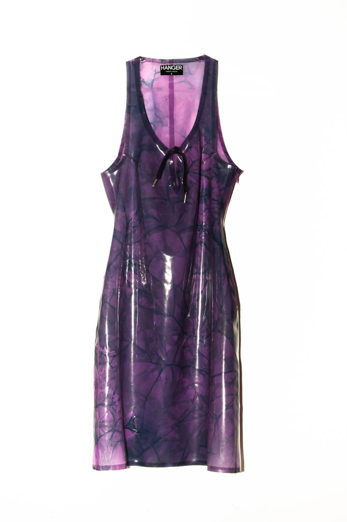 4/20 GRANDADDY PURP Latex Dress (Marbled tie-dye)  - HANGER inc - Made in London Sustainable Ethical Designer Fashion Latex Rubber Clothing