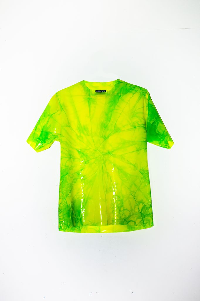 4/20 GREEN CRACK Latex Tee (marbled tie-dye)  - HANGER inc - Made in London Sustainable Ethical Designer Fashion Latex Rubber Clothing