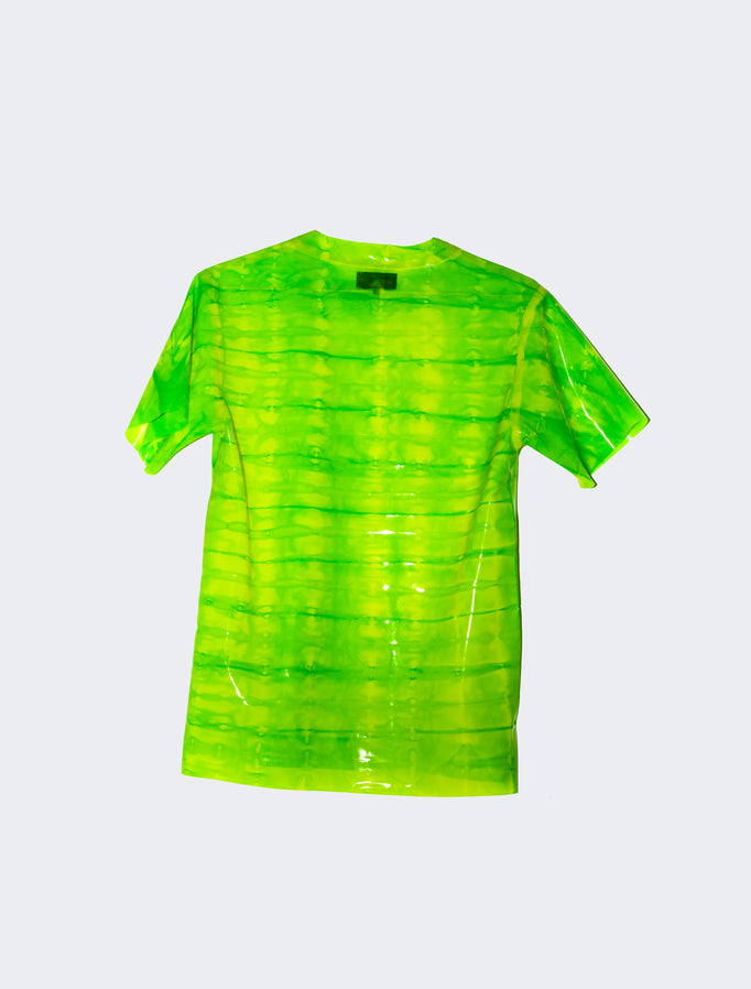 4/20 GREEN CRACK Latex Tee - STRIPED  - HANGER inc - Made in London Sustainable Ethical Designer Fashion Latex Rubber Clothing