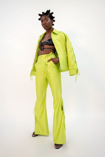 Kiruto Coach Jacket Lime Jacket - HANGER inc - Made in London Sustainable Ethical Designer Fashion Latex Rubber Clothing