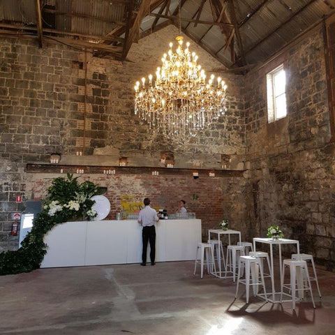 Our Queen Isabella Chandelier on Hire at The Old Paper Mills, Geelong