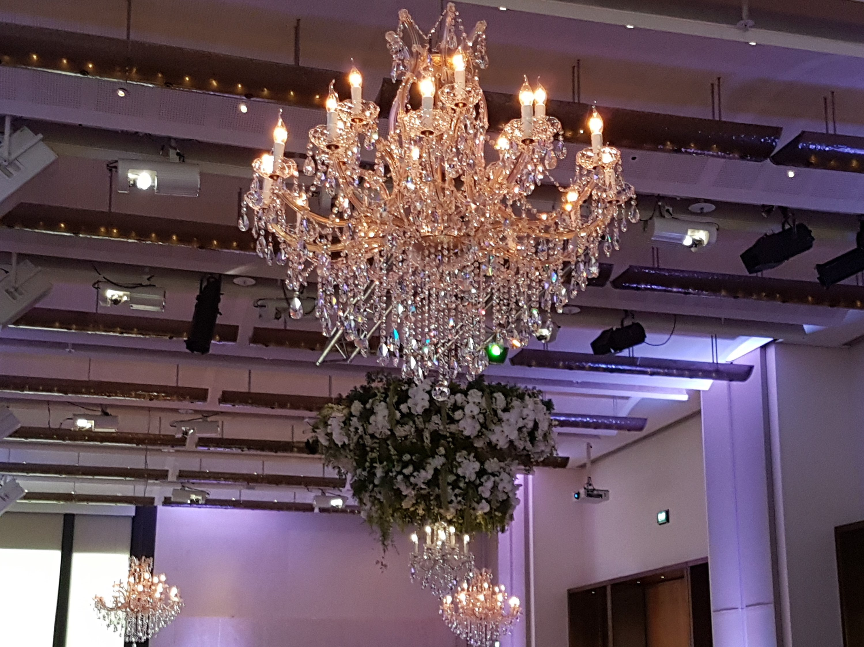Crown River Room Wedding Melbourne; Gold Elegance 1.1m Chandelier for hire