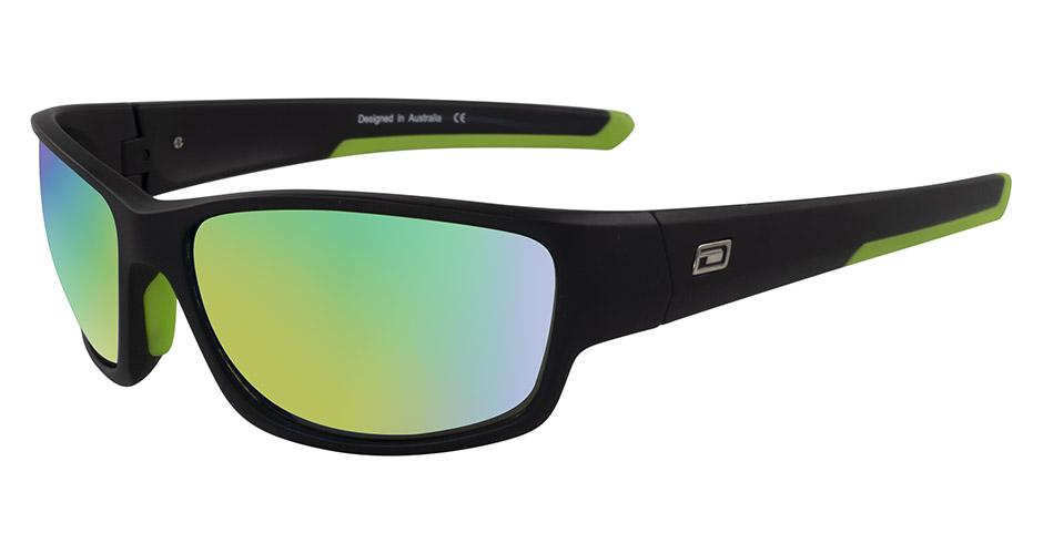 Dirty Dog Sport Chain Black|Green Fusion Mirror Sunglasses