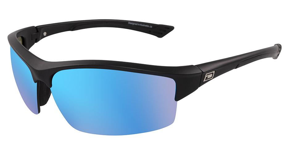 Dirty Dog Sport Sly-Matt Black-Ice Blue Mirror Lens Sunglasses
