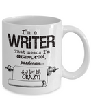 Crazy Writer Gift Mug - 11oz Ceramic - Gift for Author or Journalist - The VIP Emporium