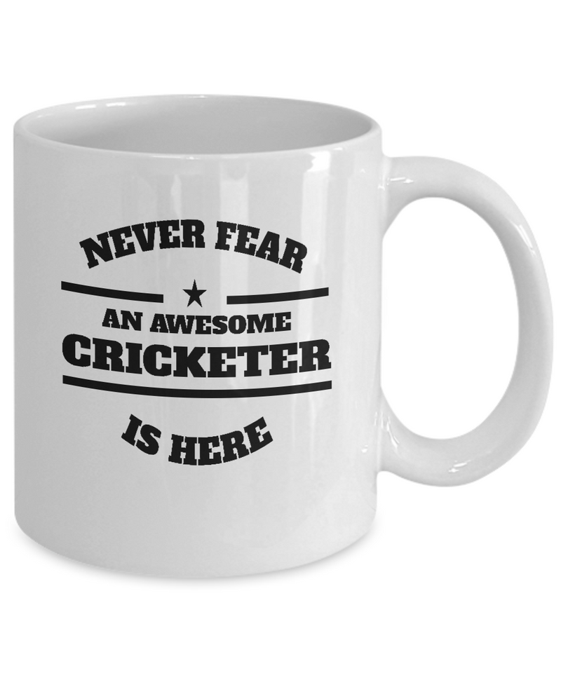 Awesome Cricketer Gift Mug - Never Fear