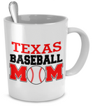 Texas Baseball Mom Mug - The VIP Emporium