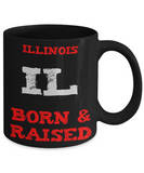 Illinois Gift Coffee Mug - Illinois Born and Raised - 11oz Ceramic, Printed in USA - The VIP Emporium
