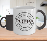 World's Greatest Poppa Mug - Matured to Perfection - Color-Changing Ceramic Cup - Father's Day, Grandparent's Day, Birthday Gift