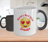 Grandpa Gift Coffee Mug - Color Changing Ceramic - 11  oz - Grandparent's Day - Father's Day - World's Most Loved - Heart Eyes Emoticon - The VIP Emporium
