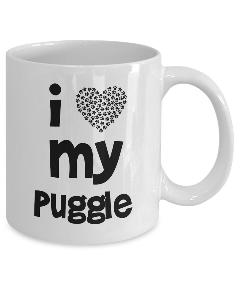 I Love My Puggle Gift Mug for Puggle Mom or Puggle Dad - Quality Ceramic - Printed in USA