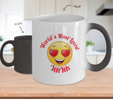 YehYeh Gift Coffee Mug - Color Changing Ceramic - 11  oz - Grandparent's Day - Father's Day - World's Most Loved - Heart Eyes Emoticon - The VIP Emporium
