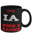 Iowa Gift Coffee Mug - Iowa Born and Raised - 11oz Ceramic Printed in USA - The VIP Emporium