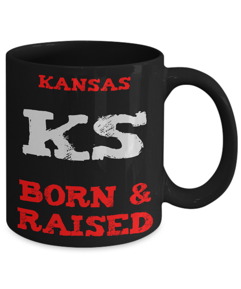 Kansas Gift Coffee Mug - Kansas Born and Raised - 11oz Ceramic Printed in USA
