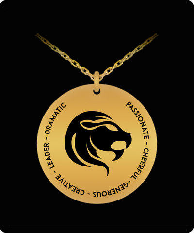 Leo Pendant Necklace - Laser-engraved 18k Gold-plated - Gift for Leo starsign - The VIP Emporium