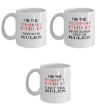Funny Gift Mugs for Families with Three Children - Rules - Set of Three Ceramic 11oz Mugs