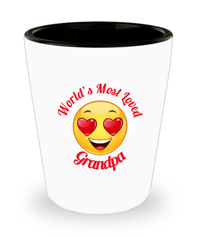 Grandpa Gift Shot Glass -  Ceramic -  - Grandparent's Day - Father's Day - World's Most Loved - Heart Eyes Emoticon - The VIP Emporium