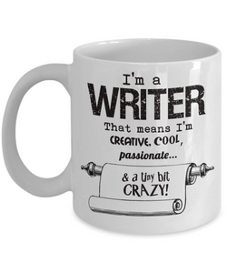 Crazy Writer Gift Mug - 11oz Ceramic - Gift for Author or Journalist