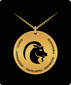 Capricorn Pendant Necklace - Laser-engraved - 18K Gold-plated