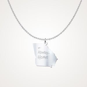 Georgia Always Home Gift Necklace - Solid Sterling Silver
